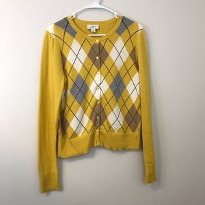 EUC LOFT button down cardigan, mustard, argyle M